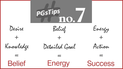 Desire + Knowledge = Belief; Belief + Detailed Goal = Energy; Energy + Action = Success